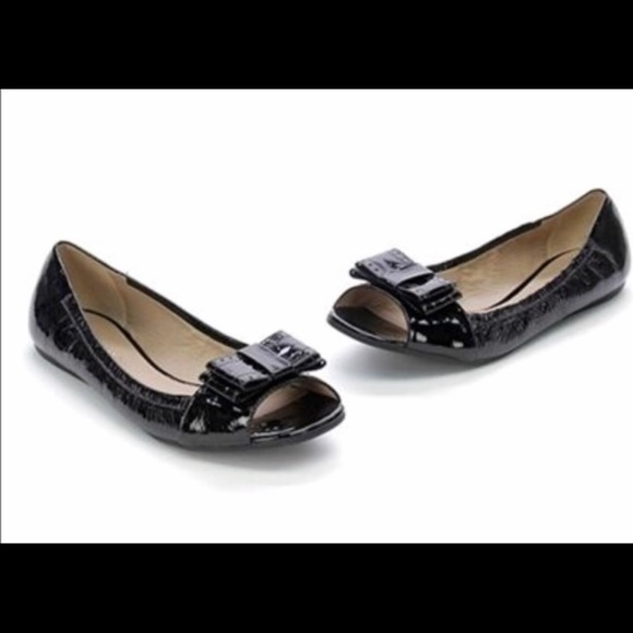 kate spade Shoes - Black patent Kate Spade open toe flats sz10
